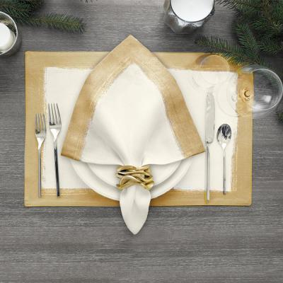 21 in. x 21 in. Ivory Metallic Brushstroke Napkins (Set of 4)