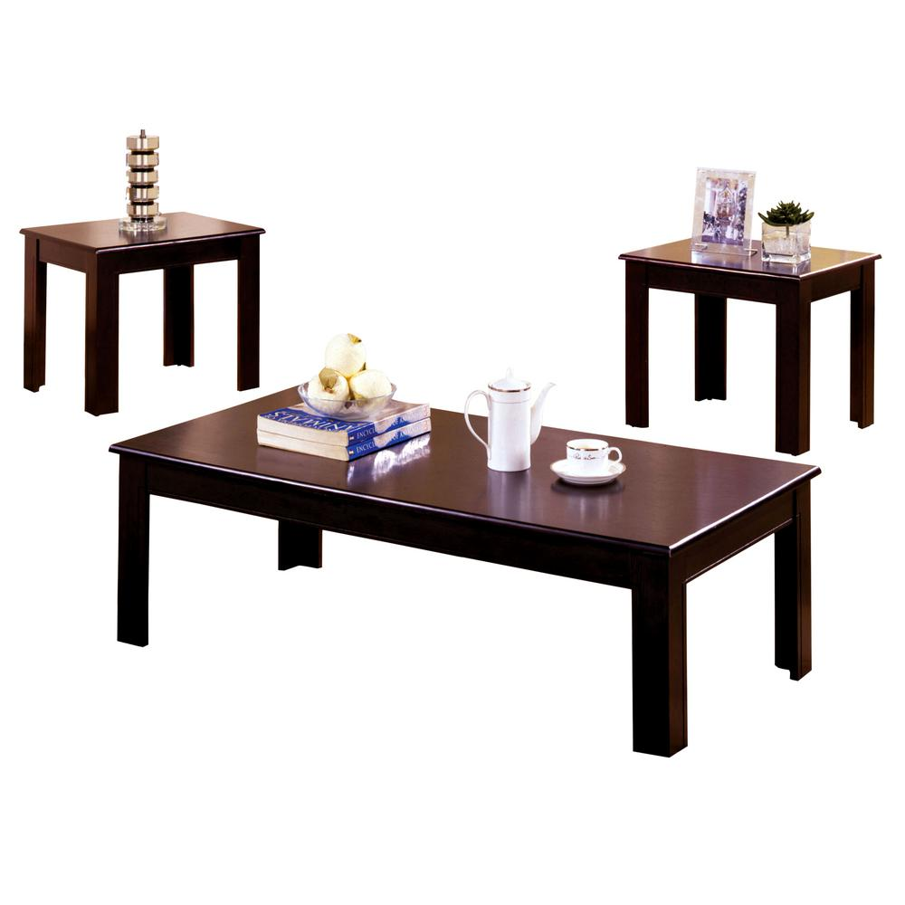 Furniture Of America Town Square Espresso 3 Piece Endside Table Set