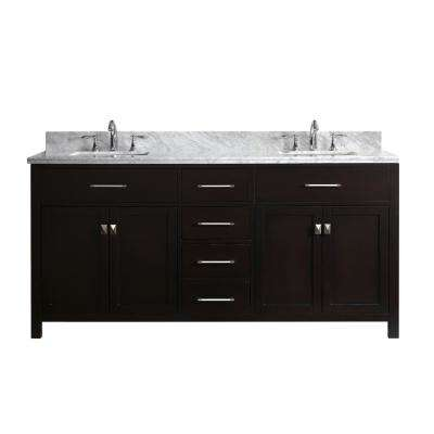 Caroline 72 in. W Double Bath Vanity in Espresso with Marble Vanity Top and Square Basin with Faucet