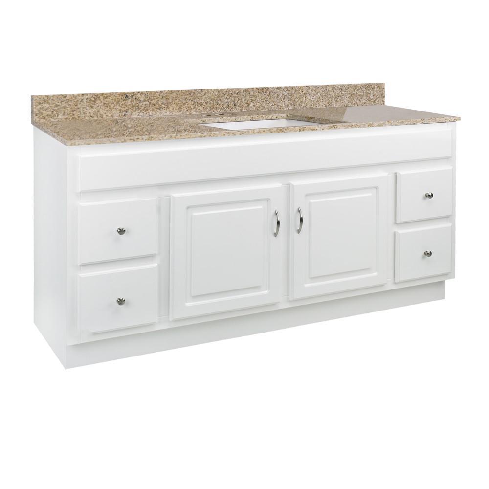 60 in. x 21 in. x 30 in. Bath Vanity in White with 4 in. Centerset Golden Sand Granite Vanity Top and Basin in White