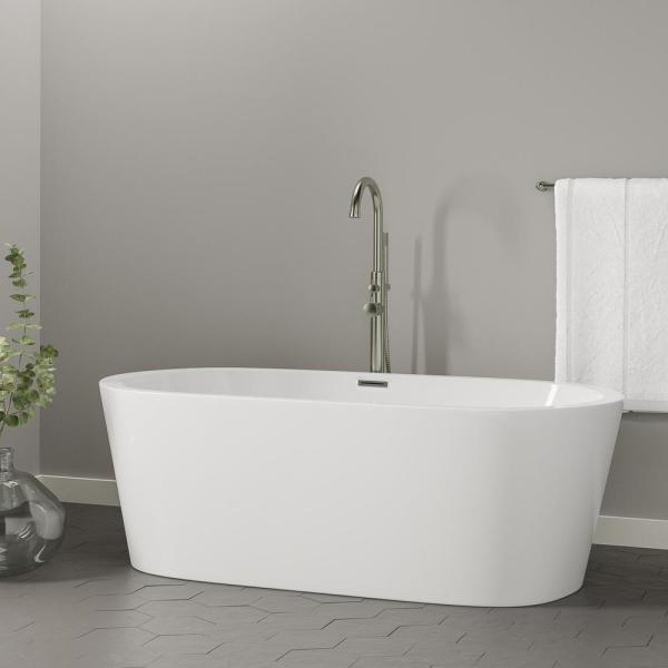 Barclay Products Rosario 70 In Acrylic Flatbottom Non Whirlpool Bathtub In White With Integral Drain In Brushed Nickel Atovn70lig Bn The Home Depot