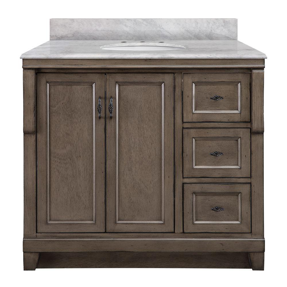 Home Decorators Collection Naples 37 in. W x 22 in. D Bath Vanity with Right Drawers in Distressed Grey with Marble Vanity Top in Carrara White