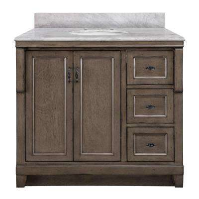 Naples 37 in. W x 22 in. D Bath Vanity with Right Drawers in Distressed Grey with Marble Vanity Top in Carrara White