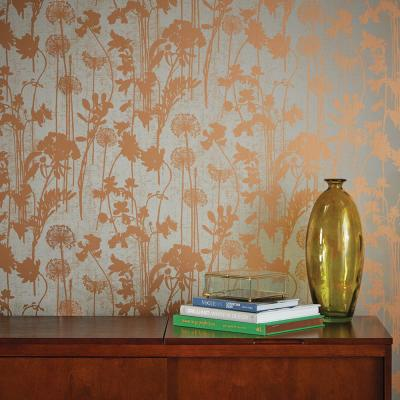 Distressed Floral Grey & Metallic Copper Peel and Stick Wallpaper 60 sq. ft.