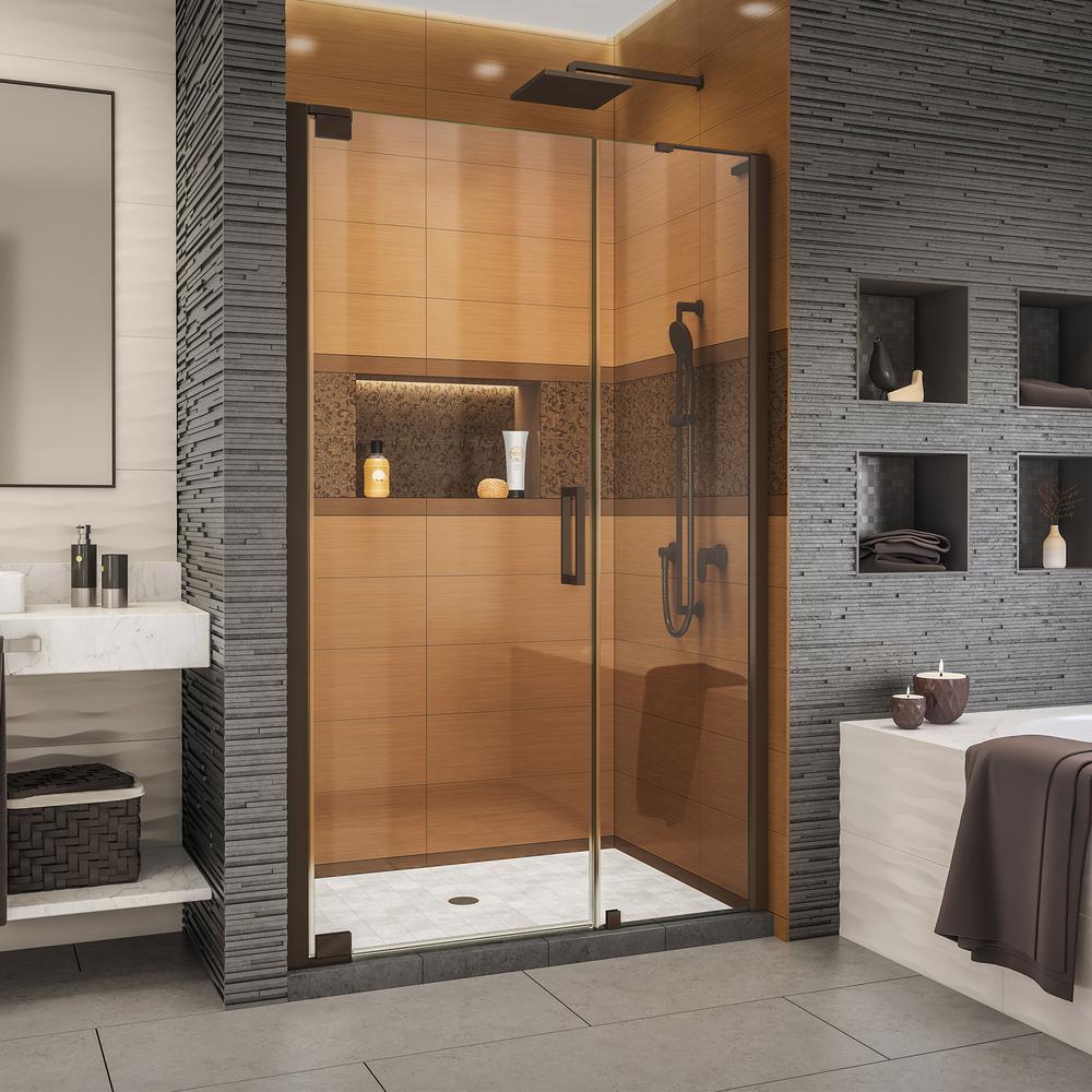 Elegance-LS 41-1/4 in. to 43-1/4 in. W x 72 in. H Frameless Pivot Shower Door in Oil Rubbed Bronze