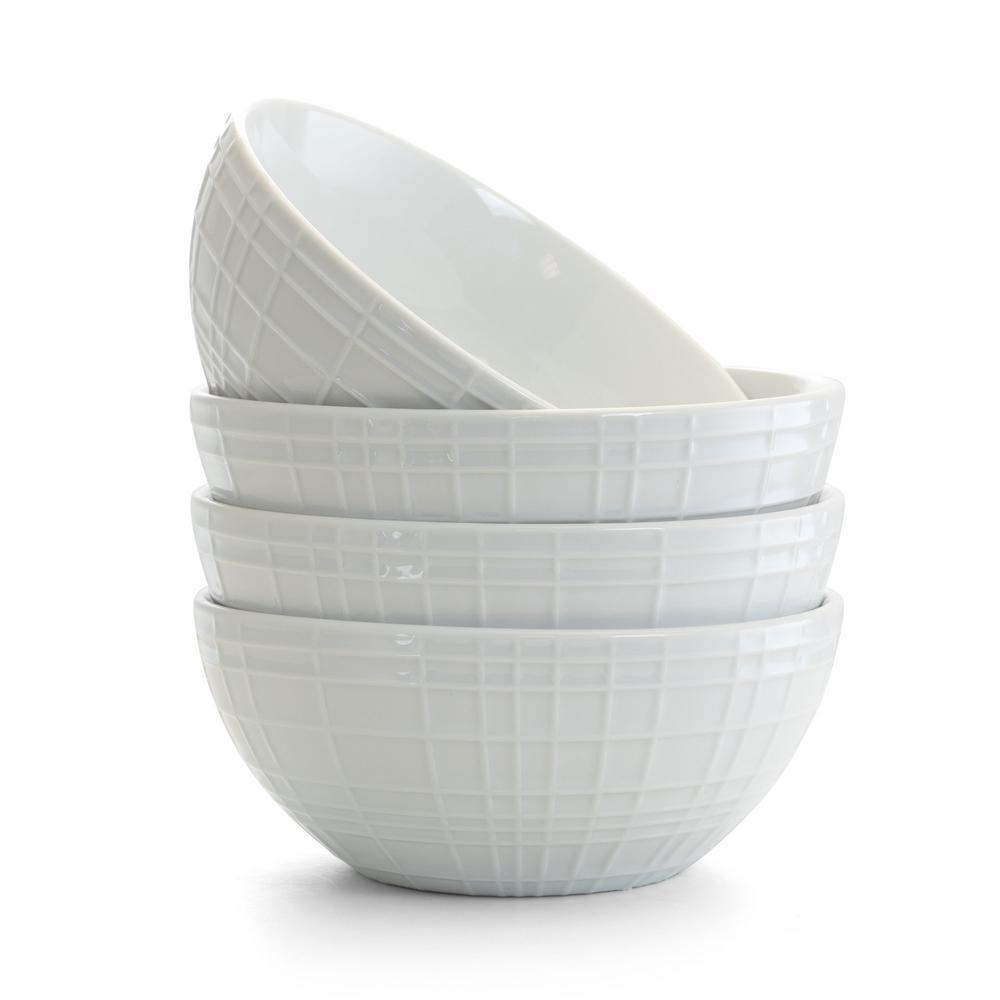 Raw Silk 12 fl. oz. White Ceramic Cereal Bowl Set (Set of 4)