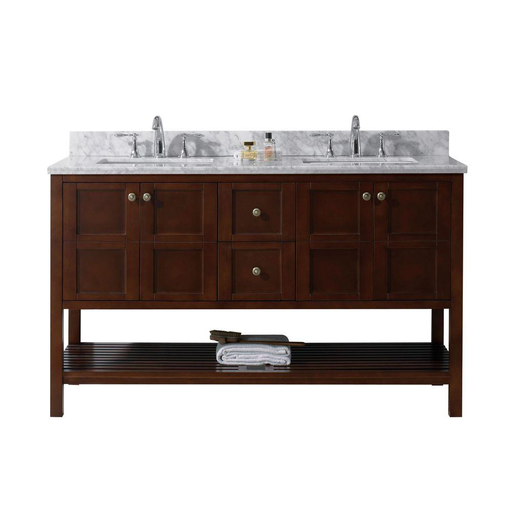 Bathroom vanity with cabinet on top - Virtu Usa Winterfell 60 In W X 22 In D Vanity In Cherry With