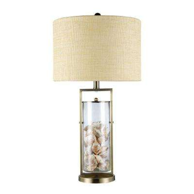 Millisle 29 in. Antique Brass and Clear Glass Table Lamp with Shells