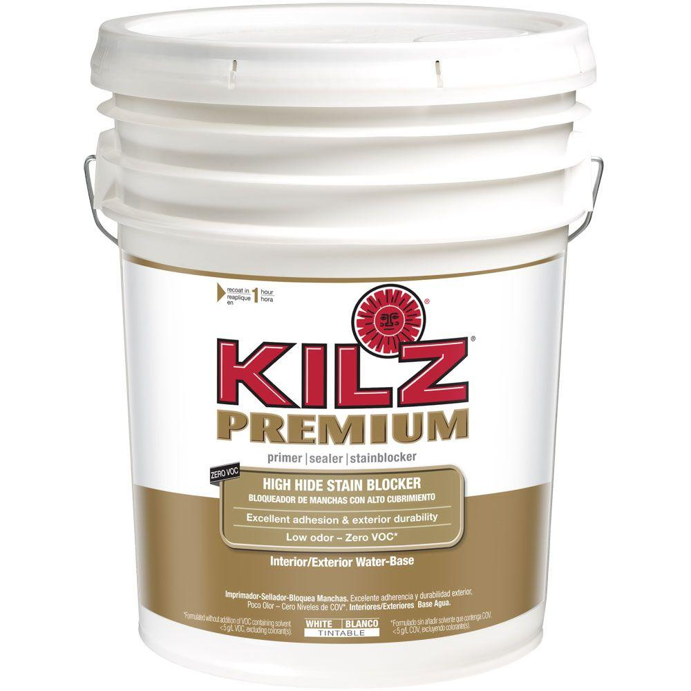 KILZ PREMIUM 5 gal. White Water-Based Interior/Exterior Primer, Sealer and Stain-Blocker