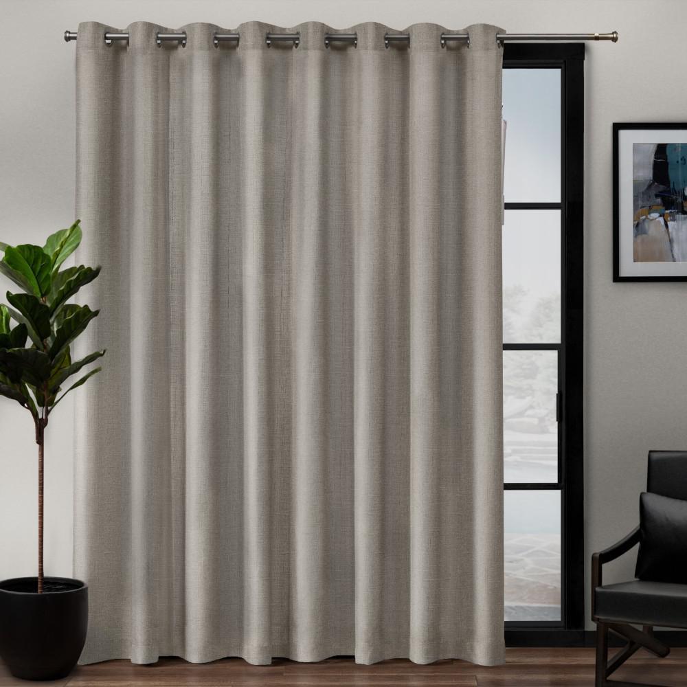 Loha Patio 108 in. W x 84 in. L Linen Blend Grommet Top Curtain Panel in Beige (1 Panel)