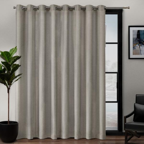 Exclusive Home Curtains Loha Patio 108 In W X 84 In L Linen Blend Grommet Top Curtain Panel In Beige 1 Panel Eh8307 03 1 84g The Home Depot