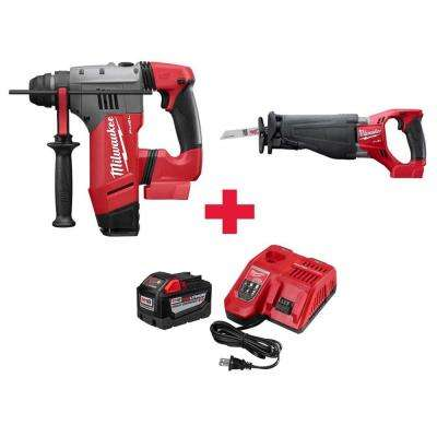 M18 FUEL 18-Volt  1-1/8 in. SDS-Plus Brushless Cordless Rotary Hammer & Sawzall W/Free 9.0Ah Battery & Charger