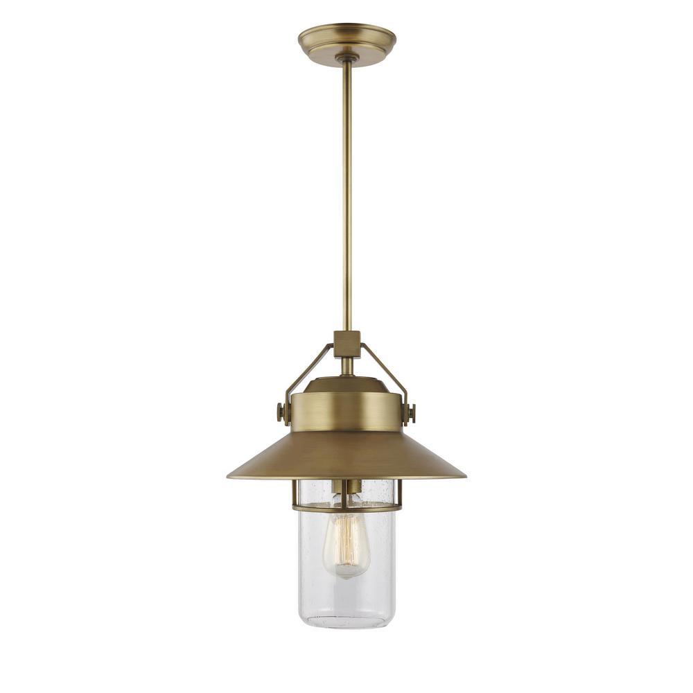 Boynton 1-Light Painted Distressed Brass Outdoor Hanging Pendant Lantern