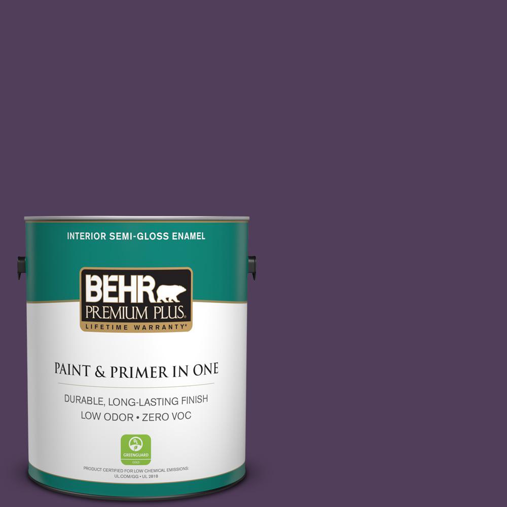 1-gal. #S-H-670 Plum Zero VOC Semi-Gloss Enamel Interior Paint