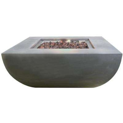 Westport 34 in. x 14 in. Square Concrete Natural Gas Fire Pit in Grey with Canvas Cover and Lava Rock