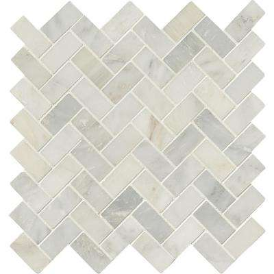 Arabescato Carrara Herringbone Pattern 12 in. x 12 in. x 10 mm Honed Marble Mesh-Mounted Mosaic Tile (10 sq. ft. / case)