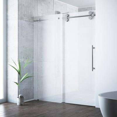 Elan 60 in. x 74 in. Frameless Sliding Shower Door in Chrome with Frosted Glass