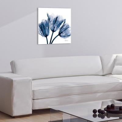 """Blue Tulip X-Ray"" Frameless Free Floating Tempered Glass Panel Graphic Wall Art"