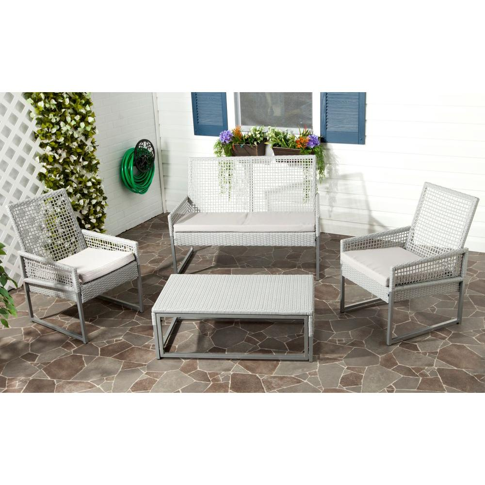Safavieh Shawmont Gray 4 Piece Patio Seating Set With Gray  Cushions FOX6010A   The Home Depot