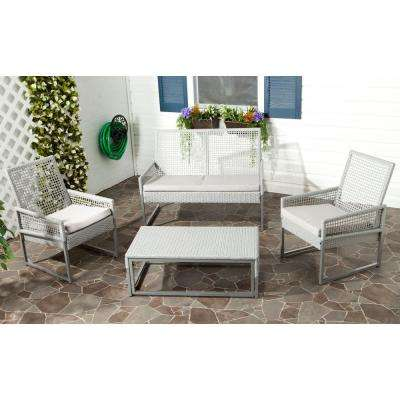 Shawmont Gray 4-Piece Patio Seating Set with Gray Cushions