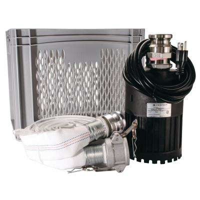 Flood Kit 4/10 HP Utility Pump with 25 in. Cloth Hose and Drain/Storage Crate