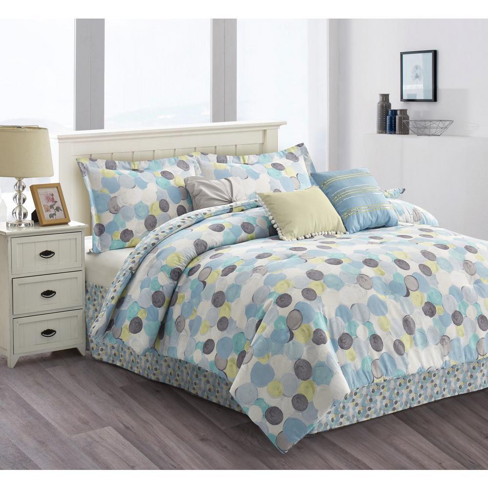 R2Zen Dolly 7-Piece Light Blue Watercolor Dotted Queen Comforter Set RZ610LB03