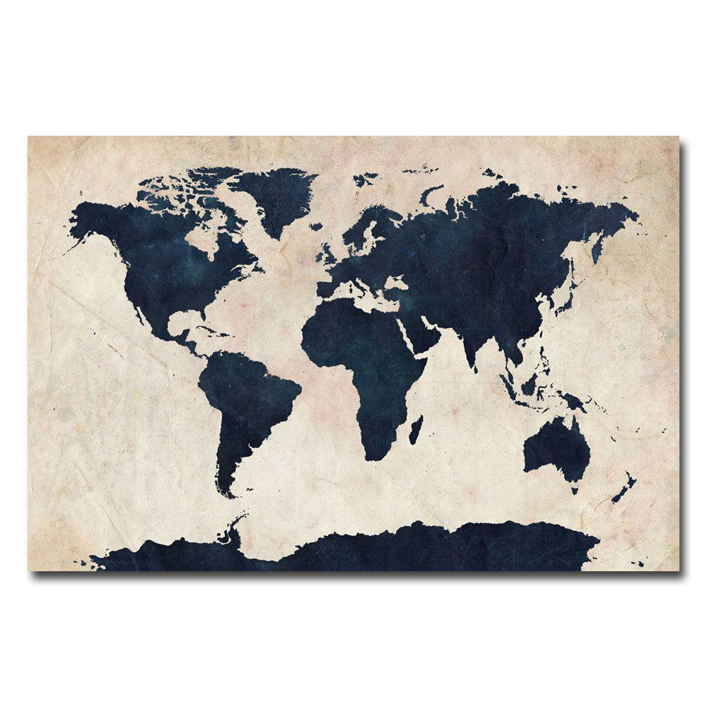 null 16 in. x 24 in. World Map - Navy Canvas Art