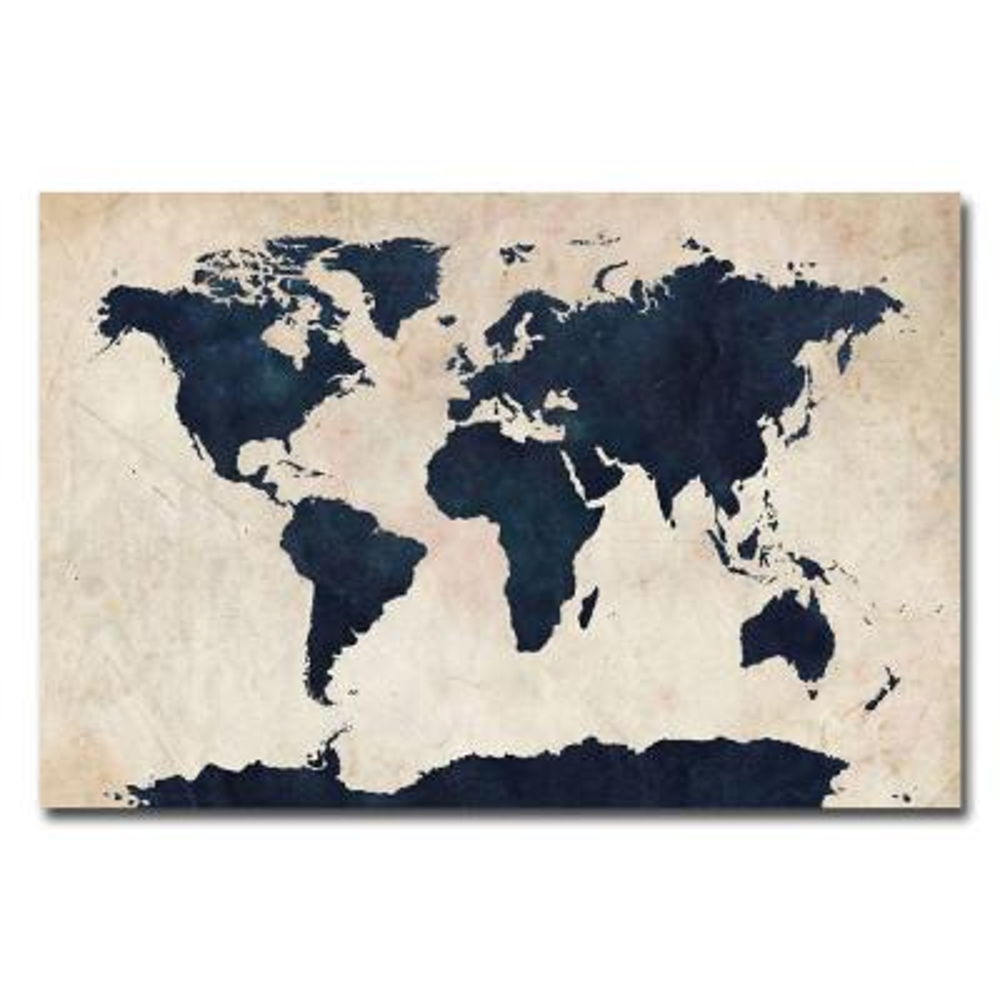 30 in. x 47 in. World Map - Navy Canvas Art