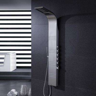 59 in. Stainless Steel Rainfall Waterfall Shower Panel Tower Rain Massage System Pressure-balanced Faucet with Jets