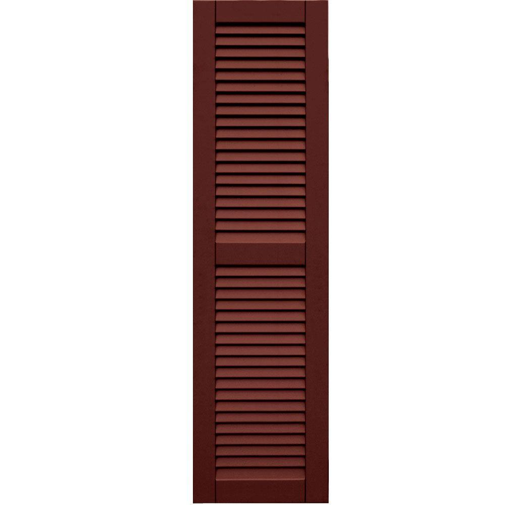 Winworks Wood Composite 15 in. x 56 in. Louvered Shutters Pair #650 Board and Batten Red
