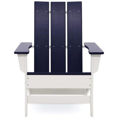 Aria White with Navy Blue Recycled Plastic Adirondack Chair