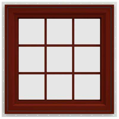 29.5 in. x 29.5 in. V-4500 Series Right-Hand Casement Vinyl Window with Grids - Red
