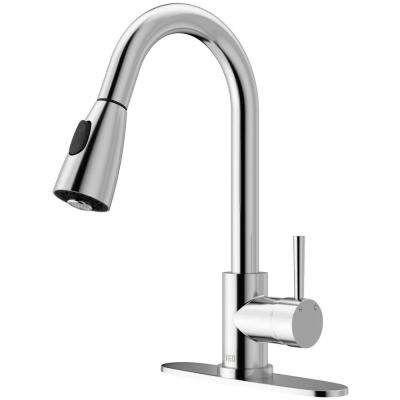 Weston Single-Handle Pull-Down Sprayer Kitchen Faucet with Deck Plate in Chrome