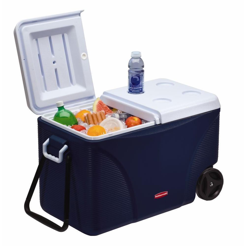 Ice Box Cooler : Rubbermaid qt blue wheeled cooler fg c modbl the