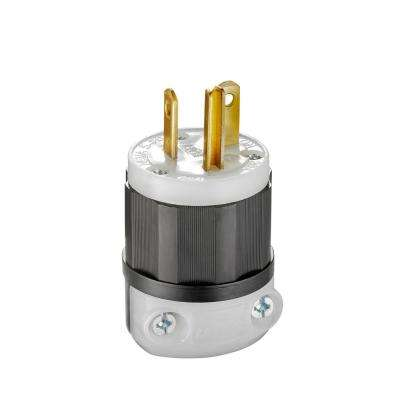20 Amp 125-Volt Straight Plug, Black and White