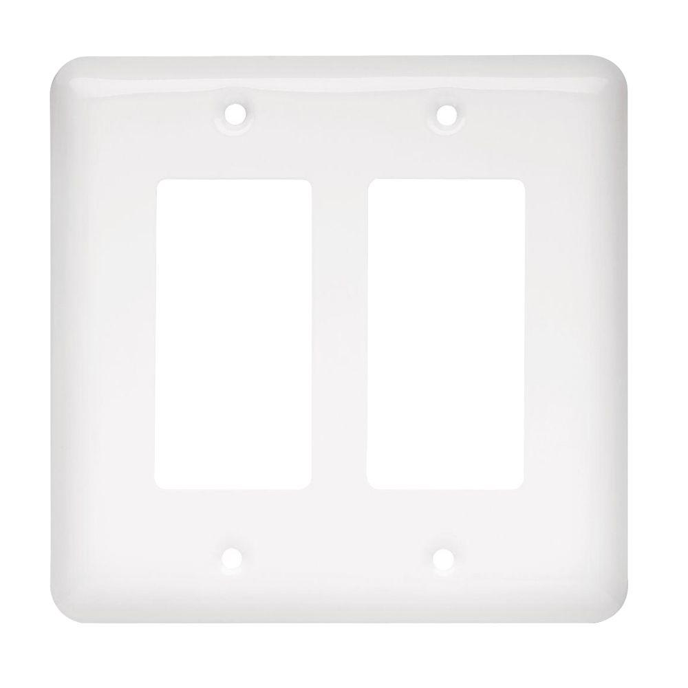 Rocker Switch Plate Impressive Liberty Stamped Round Decorative Double Rocker Switch Plate White Decorating Design