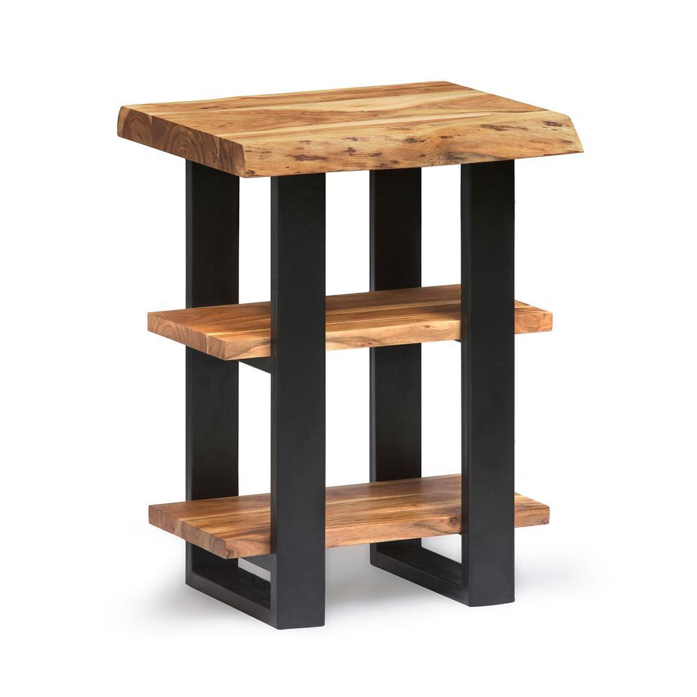 Alpine Natural 2-Shelf End Table