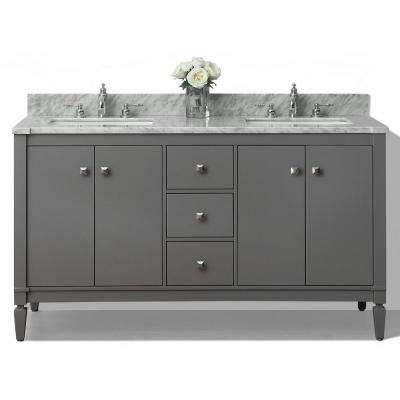 Kayleigh 60 in. W x 22 in. D Vanity in Sapphire Gray with Marble Vanity Top in Carrera White with White Basins