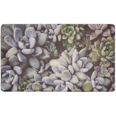Blossom Succulents 30 in. x 18 in. Gelness Kitchen Mat