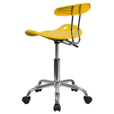 Carnegy Avenue Vibrant Yellow and Chrome Swivel Task Office Chair with Tractor Seat