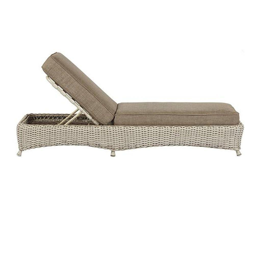Martha Stewart Living Lake Adela Bone Patio Chaise Lounge with Wheat Cushion