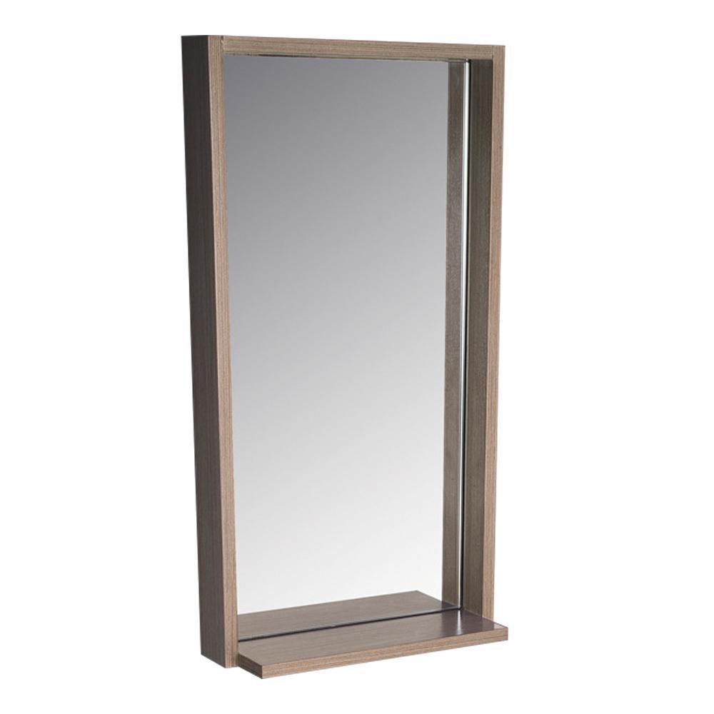 Allier 16 in. W x 31.50 in. H Framed Wall Mirror with Shelf in Gray Oak
