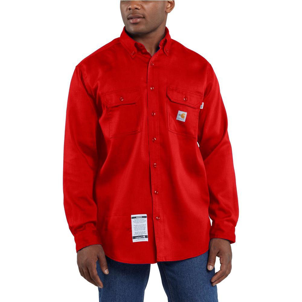 Men's Tall Medium H Red FR Light Weight Twill Shirt