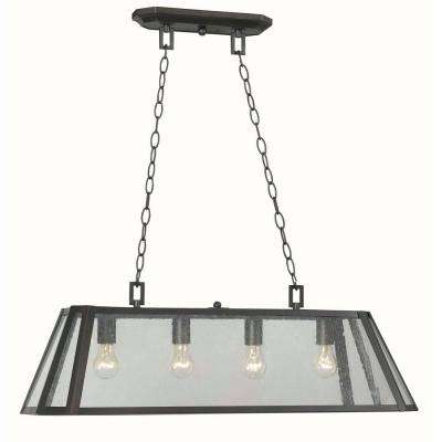Bedford 4-Light Oiled Rubbed Bronze Glass Island Pendant