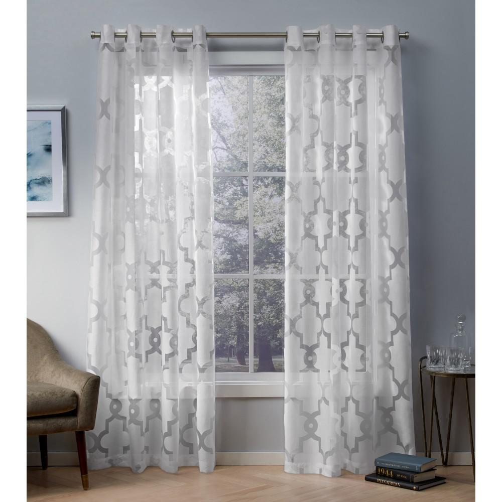 Essex 52 in. W x 96 in. L Sheer Grommet Top Curtain Panel in Winter White (2 Panels)