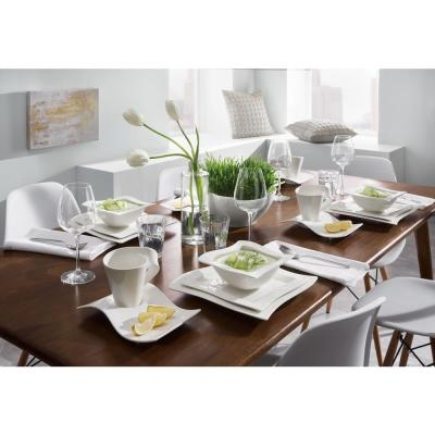 New Wave 4-Piece Modern White Porcelain Dinnerware Set (Service for 1)