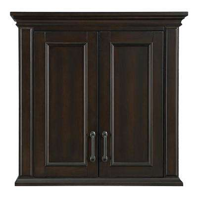 Kenbridge 28 in. W x 28 in. H Wall Cabinet in Burnished Walnut