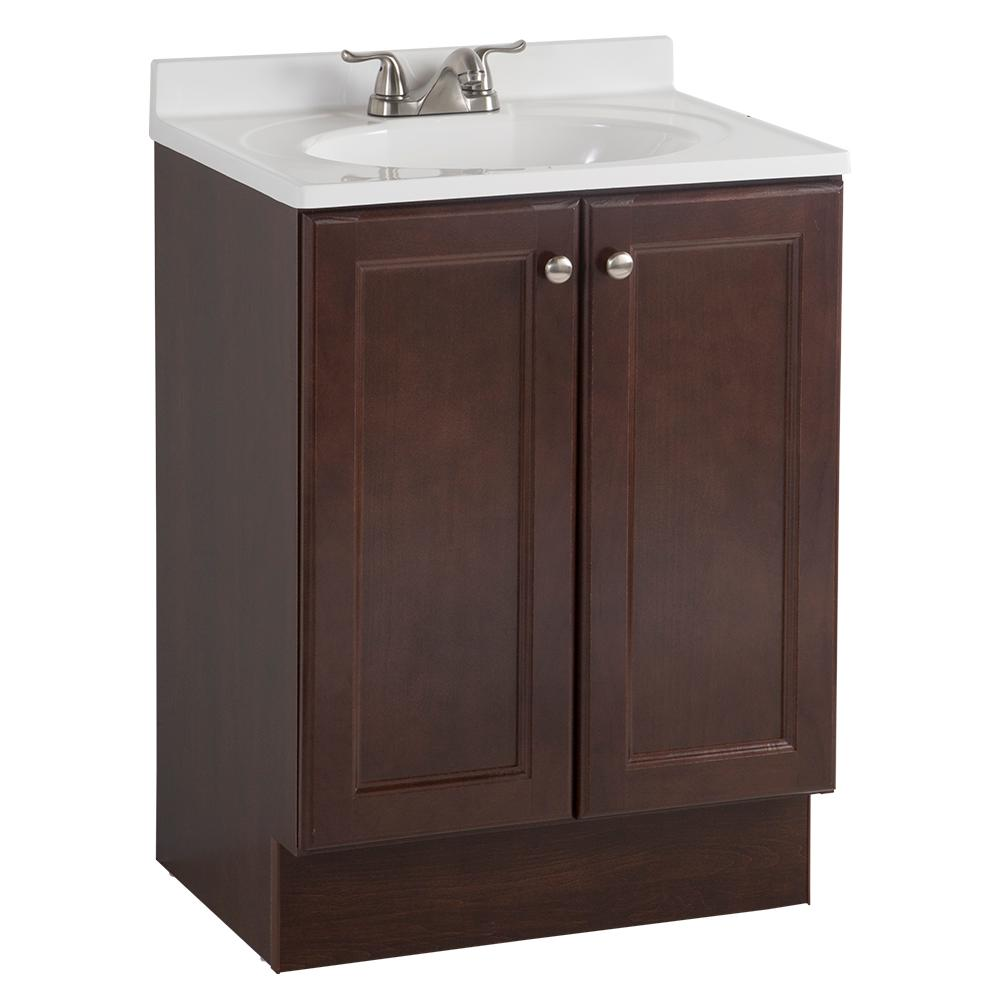 Glacier Bay All-In-One 24 in. W Bath Vanity Combo in Chestnut with Cultured Marble Vanity Top in White