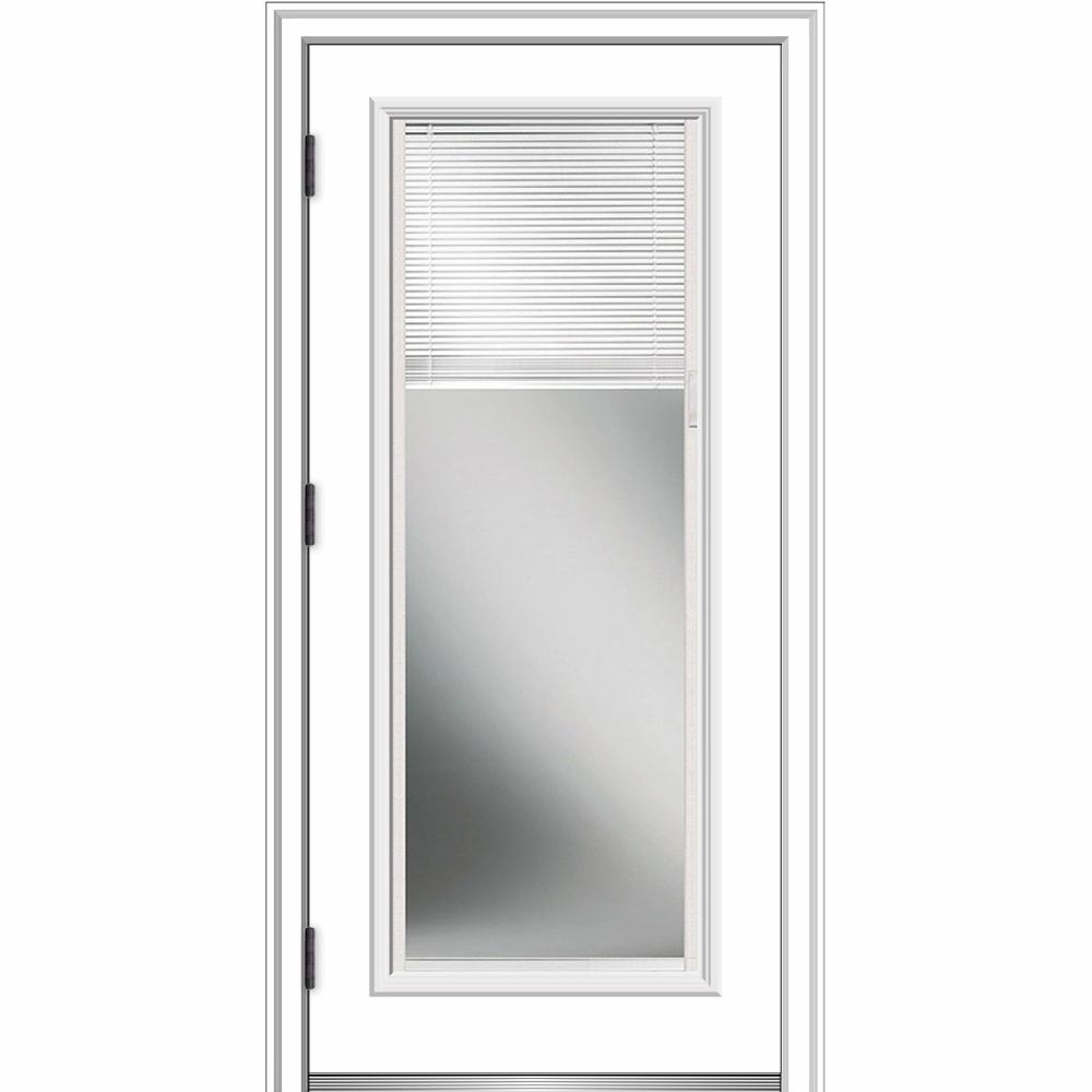 MMI Door 36 in. x 80 in. Internal Blinds Right-Hand Outswing Full Lite Clear Primed Fiberglass Smooth Prehung Front Door