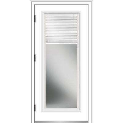 36 in. x 80 in. Internal Blinds Right-Hand Outswing Full Lite Clear Primed Fiberglass Smooth Prehung Front Door